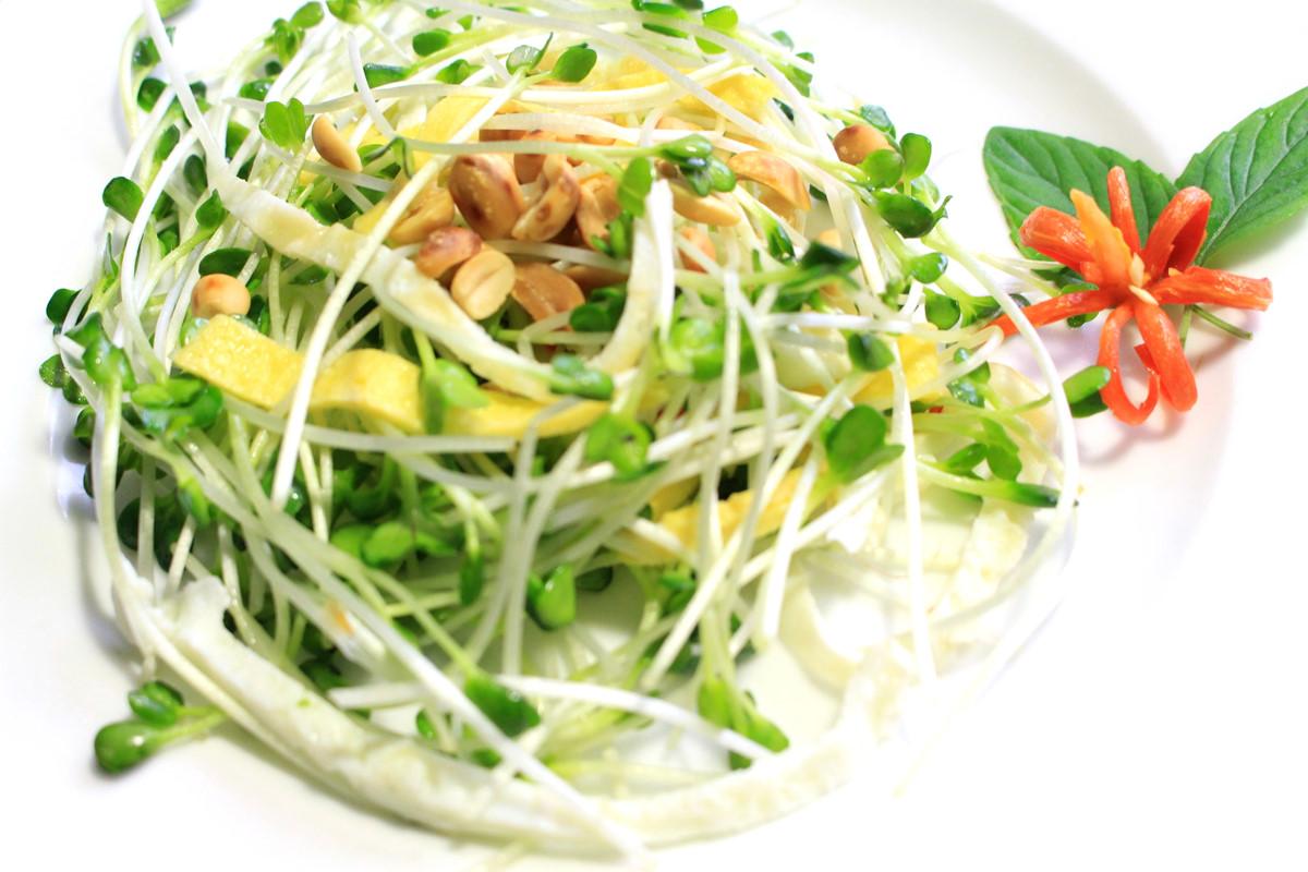Món Salad rau mầm – Quán cá bờ sông Phiến Hoan – Lựa chọn số 1 cho ...